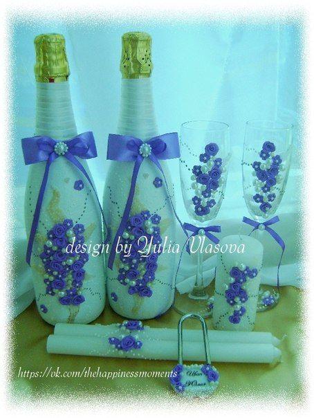 """Набор """"Офелия"""" в сиреневом цвете (2 бутылки шампанского, бокалы, свечи для семейного очага, замочек). Любая комплектация набора, любая цветовая гамма. - фото 2558101 """"Моменты счастья"""" аксессуары ручной работы"""