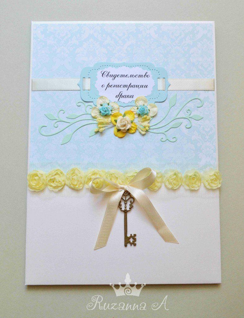 """Папка для свидетельства о браке,  формат А4 - фото 5689968 """"Велюр"""" - приглашения, свадебные аксессуары"""