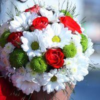 Букет невесты из красных роз, белых ромашек и зеленых хризантем