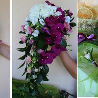 каскадный букет Невесты с орхидеей Фаленопсис и бело-розовым лизиантусом!