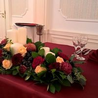 Президиум для молодожёном в цвете марсала