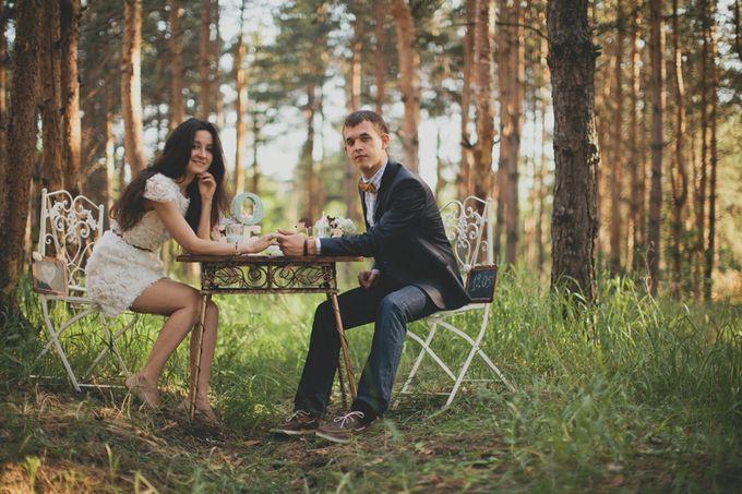 лесная свадебная фотосессия