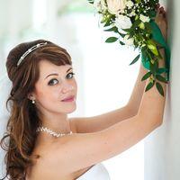 """Невеста Татьяна! С нашей работой. Букет-капля """"Нежность"""" из лилии, хризантемы, розы, эустомы,зелени."""