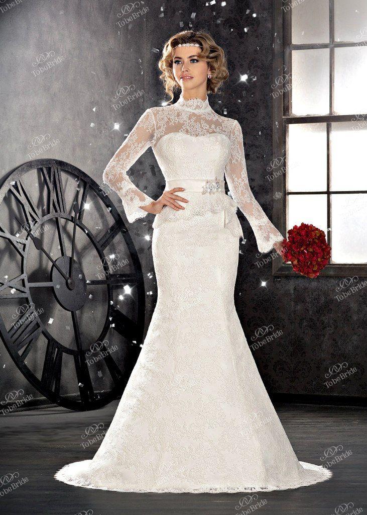 """Кружевное платье """"русалка"""" с длинными расклешенными рукавами и кружевной баской, на талии атласная лента   - фото 2972277 Салон свадебной и вечерней моды """"Белый Танец"""""""