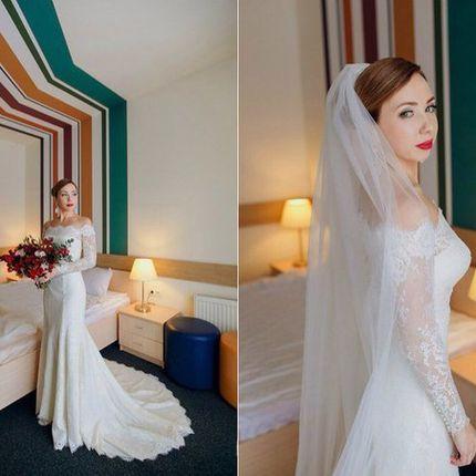 Пошив  свадебного  платья  из кружева шантильи
