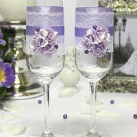 """Свадебные бокалы """"Изысканные розы"""" (2 шт, сиреневый)"""