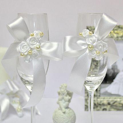 Украшение для свадебных бокалов