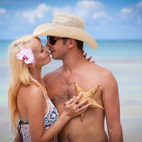 жених и невеста, съемка в Доминикане,  пляж Макао,  любовь, морская звезда