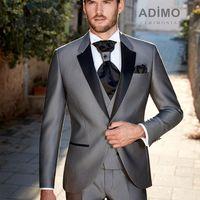 Мужской свадебный костюм-тройка серого цвета Adimo