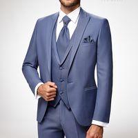 Мужской костюм-тройка Lecce Adimo, голубой
