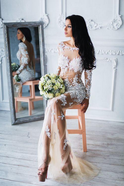 фото невест в прозрачном платье