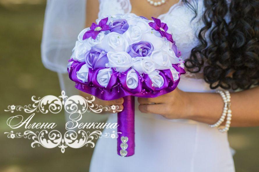Фиолетовый букет из лент