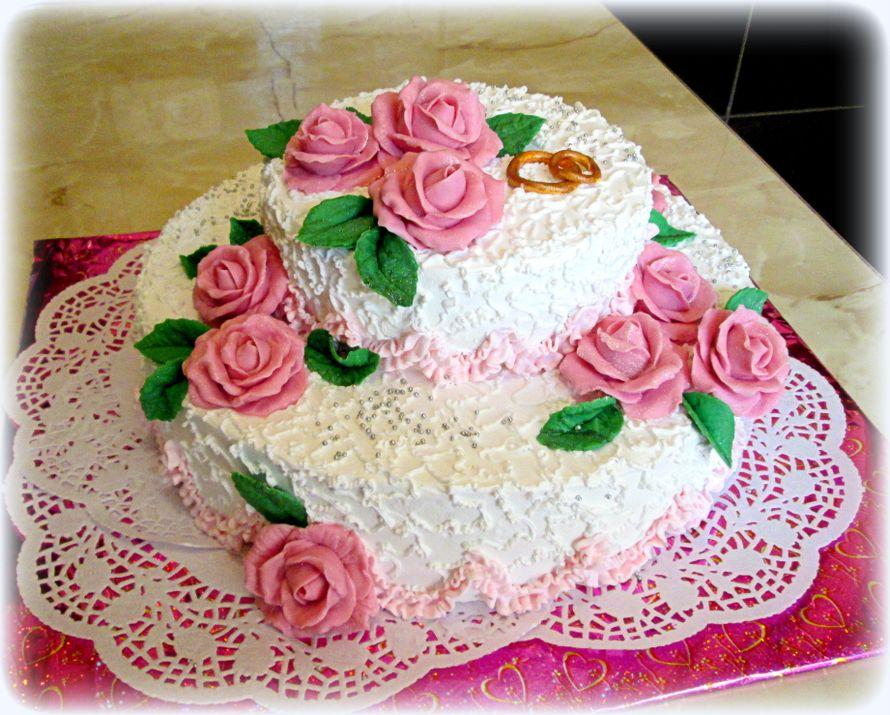 Свадебные кремовые торты двухярусные фото