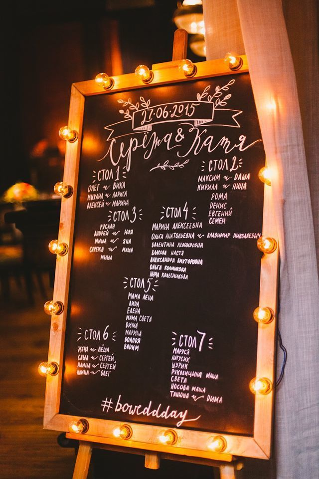 Доска рассадки гостей на свадьбе