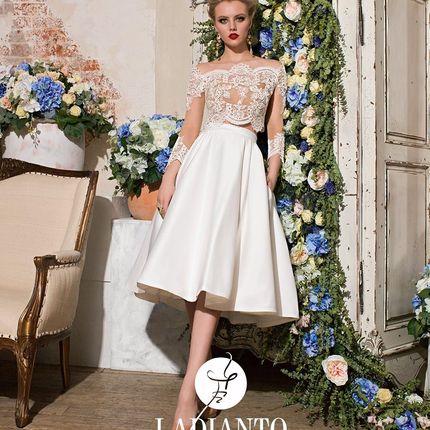 Короткое свадебное платье с кружевным топом
