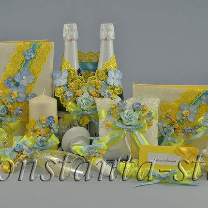 Жёлто-голубые аксессуары Bali