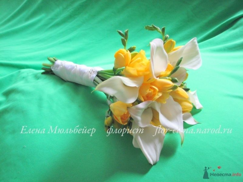 Букет из калл и солнечных фрезий - фото 34442 Цветочная мастерская Флорины