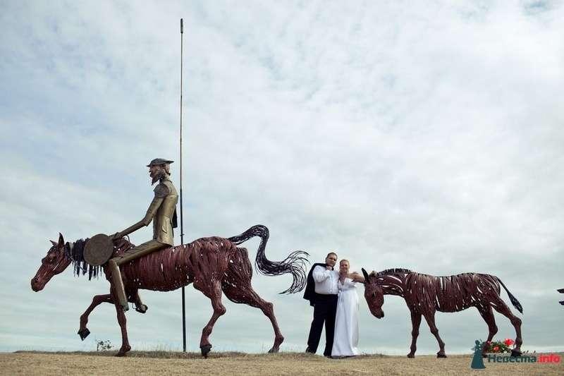 Жених и невеста стоят, прислонившись друг к другу, возле статуй с лошадями - фото 89129 Romanetes