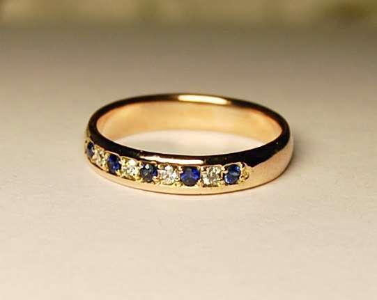 """Обручальное кольцо с бриллиантами и сапфирами - фото 3739431 Ювелирная дизайн студия """"Золотая Роскошь"""""""