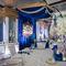 королевская свадьба, синий и золото, зона президиума, кисти, орхидеи, стол гостей, салфетки,вазы, канделябр