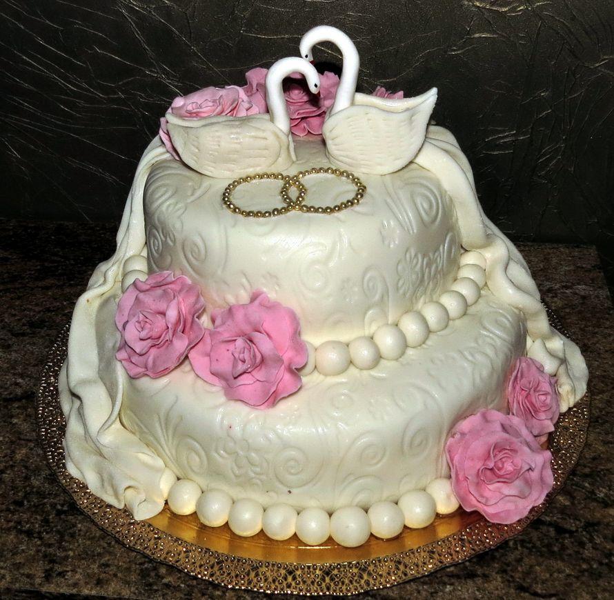свадебный двухъярусный королевския торт фото