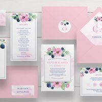 Комплект приглашения на свадьбу с акварельным рисунком. Яркий цветочный, фруктовый принт с ежевичкой