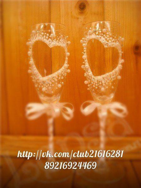 Как украсить свадебную бокалы своими руками фото