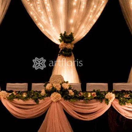 Оформление свадебного президиума стол