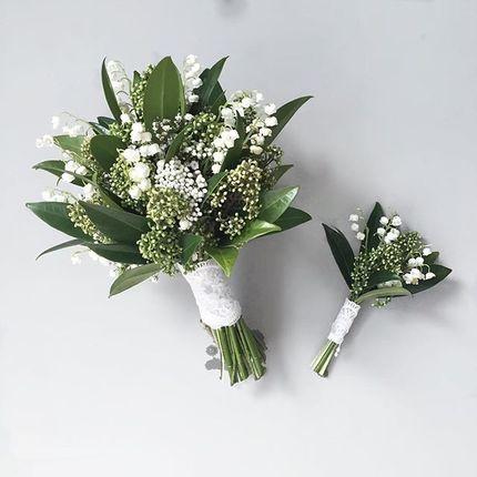 Букет невесты из ландышей (+бутоньерка в подарок!)