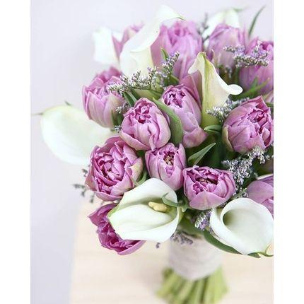 Букет невесты из пионовидных тюльпанов с каллами (+бутоньерка в подарок!)