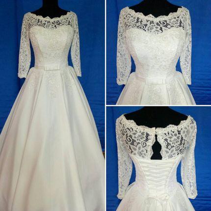 Атласное свадебное платье с рукавами Италия