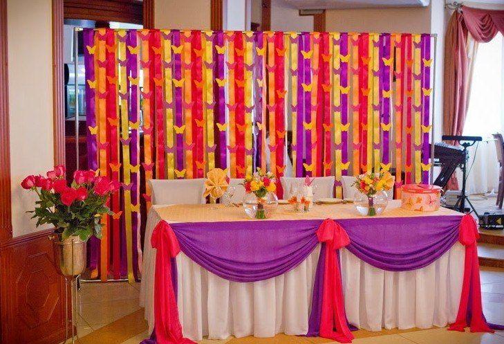 Украшения лентами залов на свадьбу