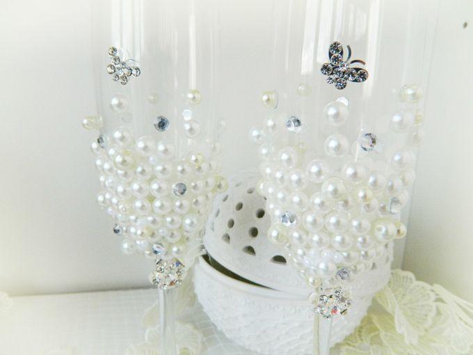 """Роскошные свадебные бокалы отделанные жемчугом, стразами """"Royal Pearl"""", в наличии. 1500руб"""