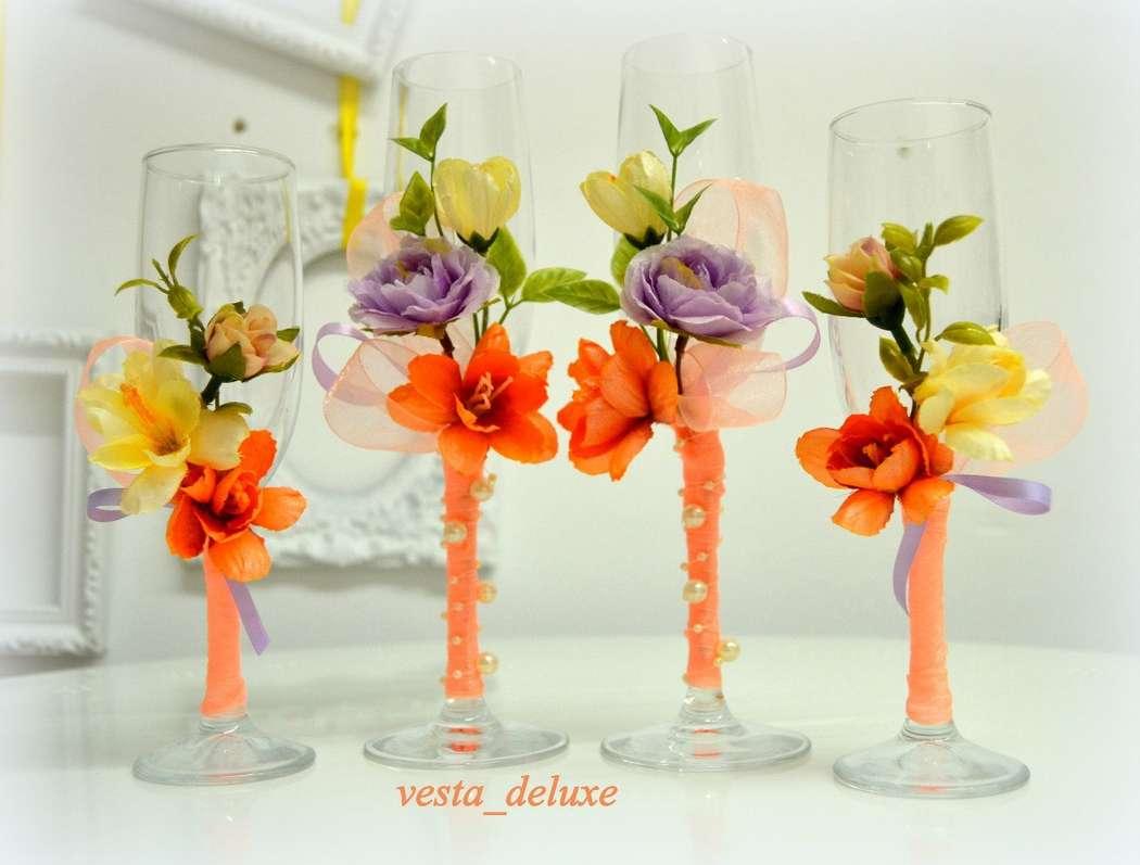 Фужеры для молодоженных и дружка, дружки в стиле свадьбы ручной работы. - фото 7695112 Vesta Deluxe - оформление свадеб