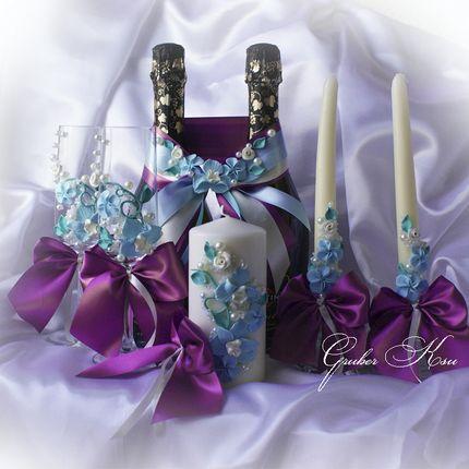 """Набор аксессуаров ручной работы """" Голубые орхидеи"""""""
