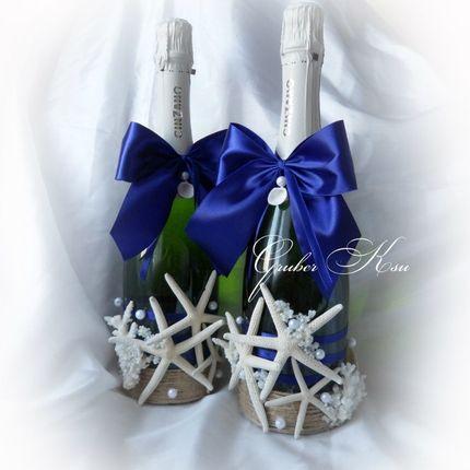 Оформление шампанского в морском стиле