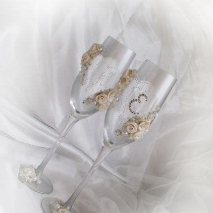 """Свадебные бокалы """"Романтика"""" в серебре"""