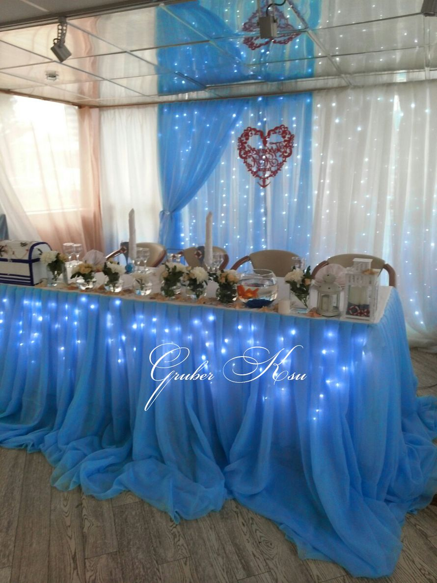 Свадьба зал в голубом цвете фото