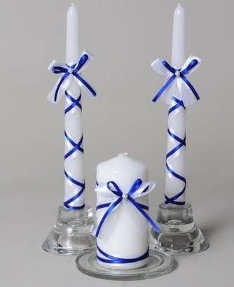 Украсить свечи на свадьбу лентами своими руками
