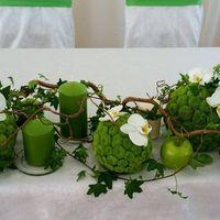 Композиция на стол жениха и невесты с зелеными хризантемами, орхидеями фаленопсис, хедерой, ветками корилуса и зелеными яблоками