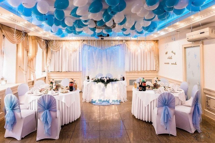 """Бело-голубое оформление зала - фото 16497540 Банкетный зал """"Корсаков"""""""