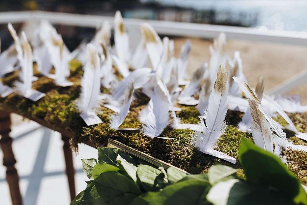 Табличка для рассадки гостей в виде карточки с пером, в единой тематике свадебного торжества - фото 3567977 Игорь Цаплин фотограф