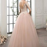 СВАДЕБНОЕ ПЛАТЬЕ 1185 Нежное и романтичное свадебное платье умеренной пышности позволяет создать очень красивый образ невесты. Лёгкий пудровый оттенок юбки, гармонично дополненной фактурным кружевом, покоряет с первого взгляда. Оригинальная спинка с прозр