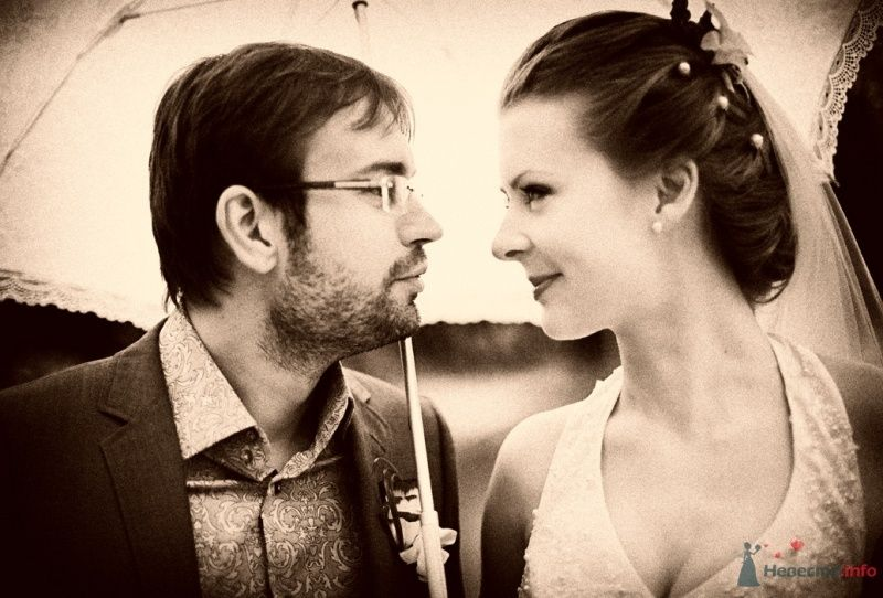 Жених и невеста стоят под зонтом и смотрят друг на друга - фото 40808 malysh_eva