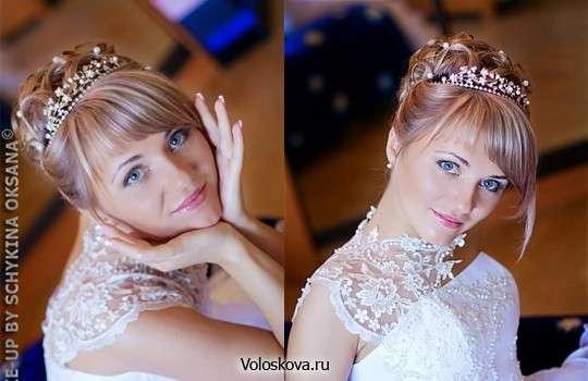 Свадебные прически с челкой с диадемой