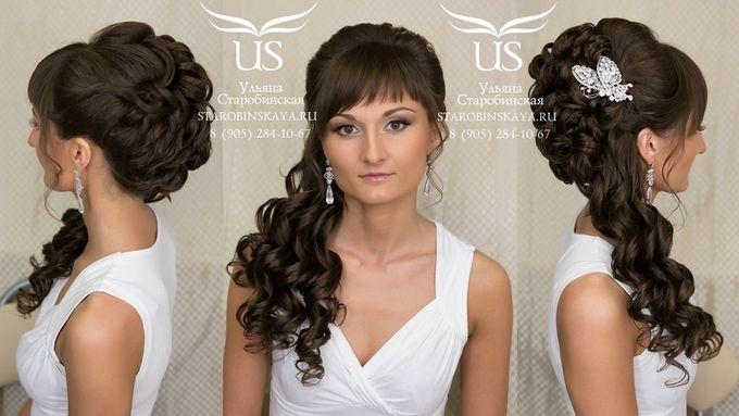 Причёска на длинные волосы с челкой