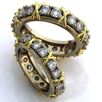 Обручальные кольца с бриллиантами (стиль Тиффани)