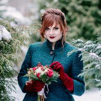 свадьба, зима, бардовый, красный,изумрудный, черный, жених, невеста, свадебная фотосессия, флористика, букет, букет невесты