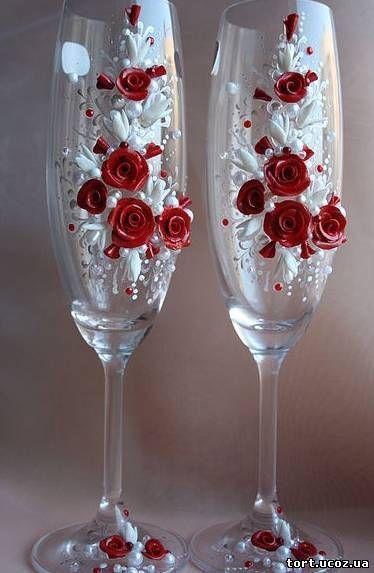 Свадебные бокалы.украсить своими руками фото