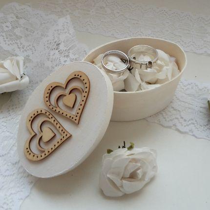 Шкатулка для колец Бумажные белые розы